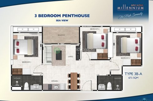 3 bedroom condo for sale in Arcadia Millennium Tower